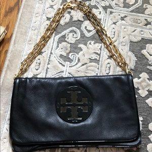 Tory Burch black leather clutch